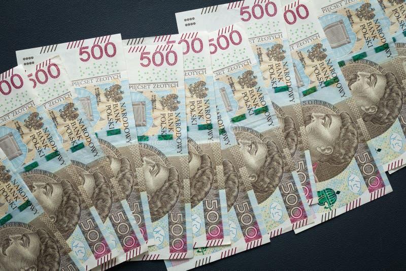 Dinero polaco, billetes de banco con la denominación más alta del zlotych quinientos foto de archivo