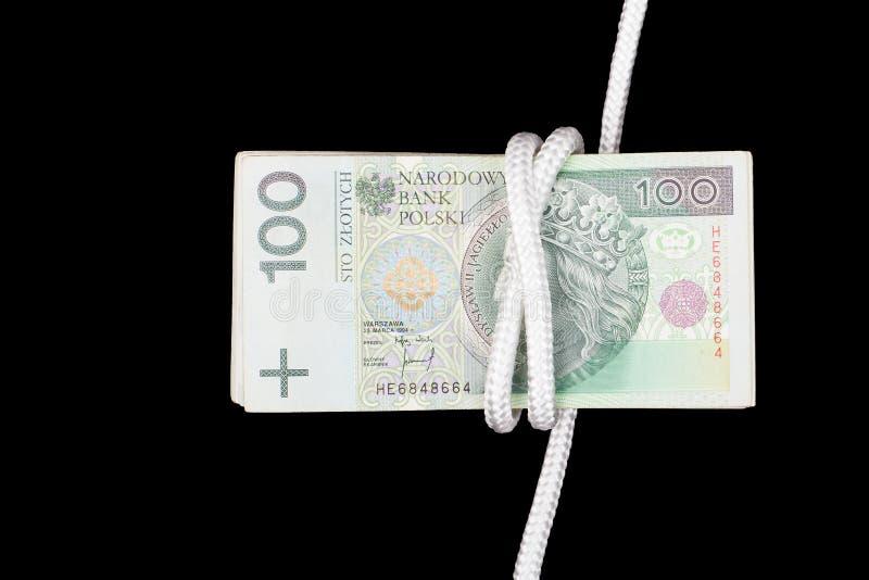 Dinero polaco, concepto de cuerda imagen de archivo