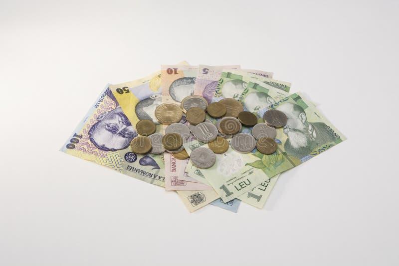 Dinero rumano - cuentas y monedas foto de archivo libre de regalías