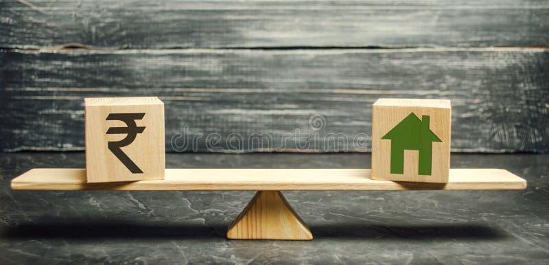 Dinero - rupia de la rupia india y casa de madera en escalas Valor justo de las propiedades inmobiliarias y de la vivienda Pago d imagen de archivo
