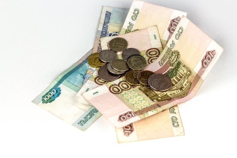 Dinero ruso de diversas denominaciones aislado fotografía de archivo libre de regalías