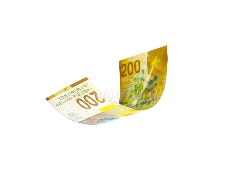 Dinero suizo que vuela - nota de los francos suizos fotografía de archivo libre de regalías