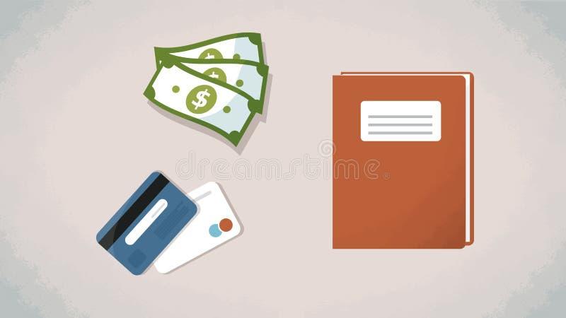 Dinero, tarjetas de crédito y cuaderno en una tabla Vector Los artículos planos del estilo de la visión superior para la historie ilustración del vector