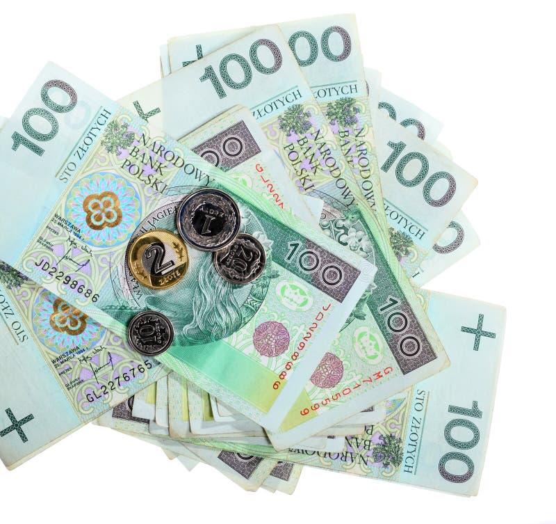 Dinero y ahorros. Pila de billetes de banco del zloty del pulimento 100's foto de archivo libre de regalías