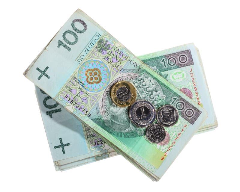 Dinero y ahorros Pila de billetes de banco del zloty del pulimento 100's fotos de archivo