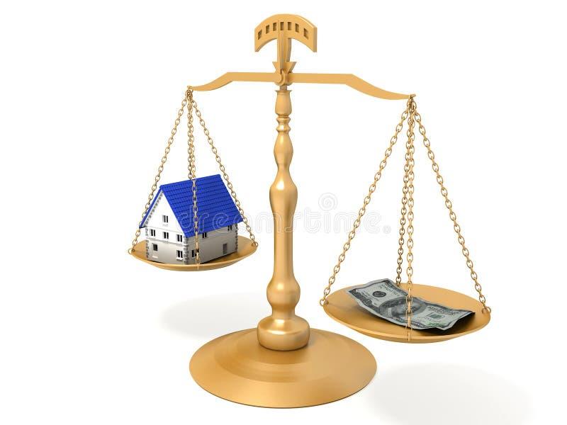 Dinero y casa del balance. stock de ilustración