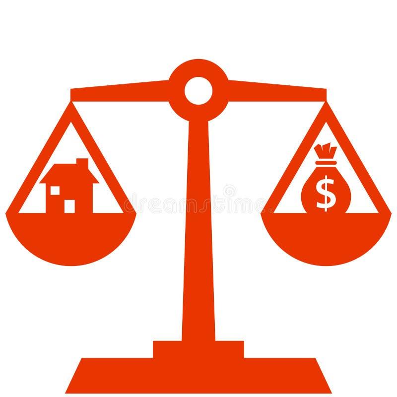 Dinero y casa que equilibran en diseño de la escala stock de ilustración