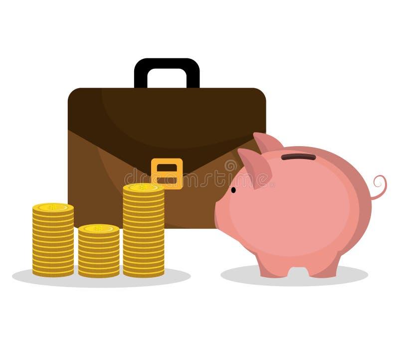 Dinero y diseño de negocio ilustración del vector