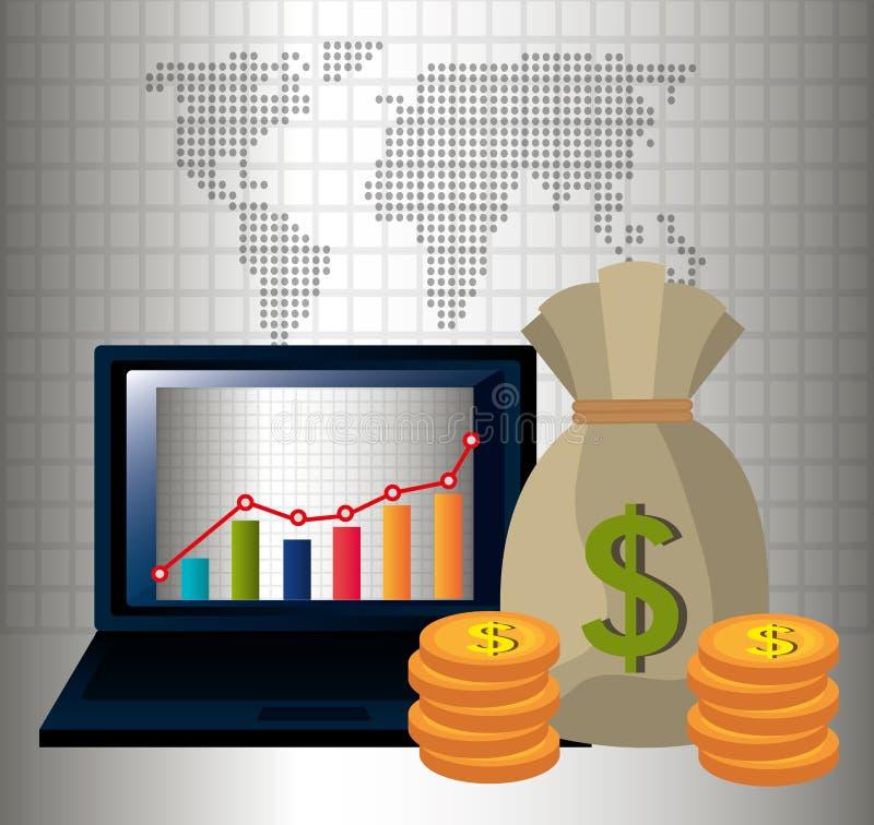 Dinero y economía global stock de ilustración