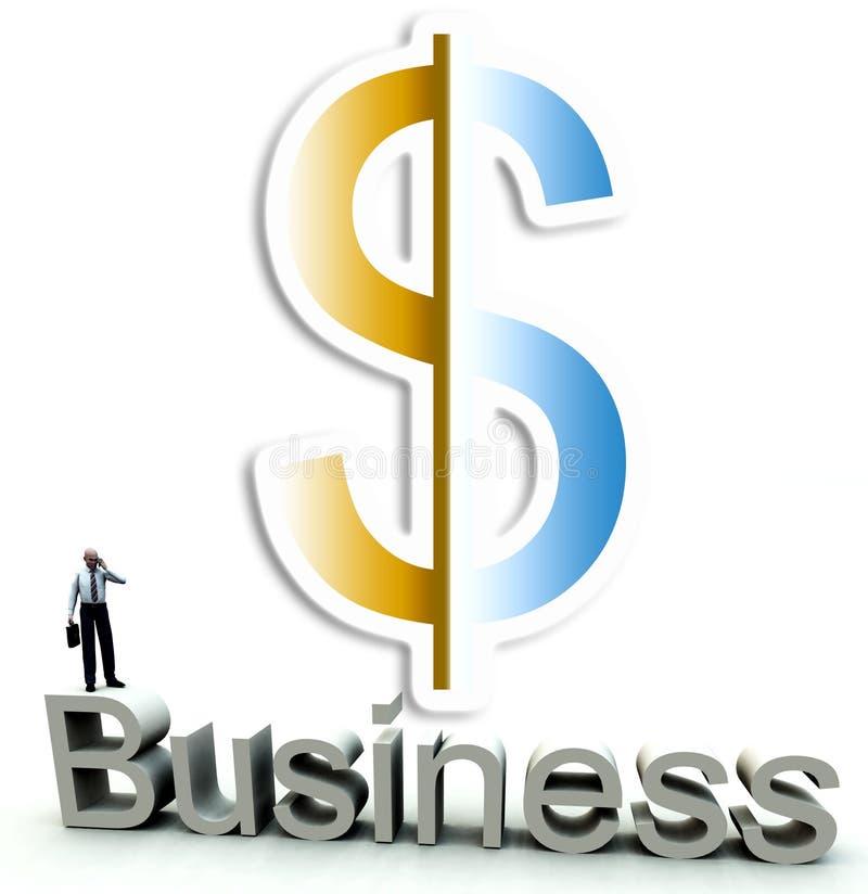 Dinero y hombre de negocios en la palabra 45 stock de ilustración
