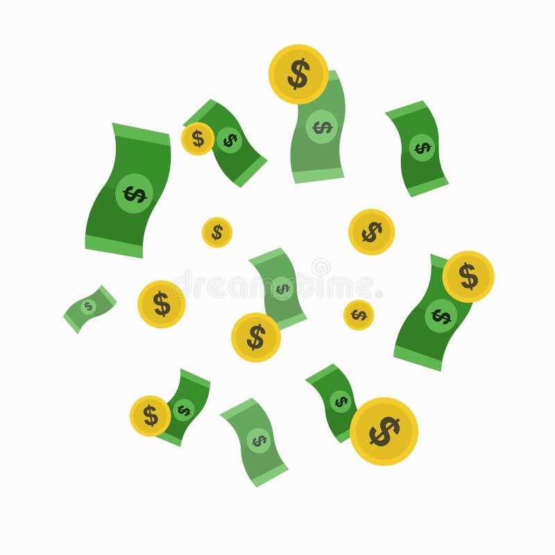 Dinero y lluvia de oro de la moneda Vector ilustración del vector