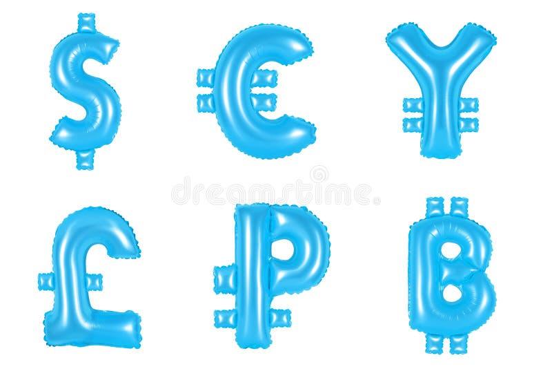 Dinero y moneda, color azul stock de ilustración