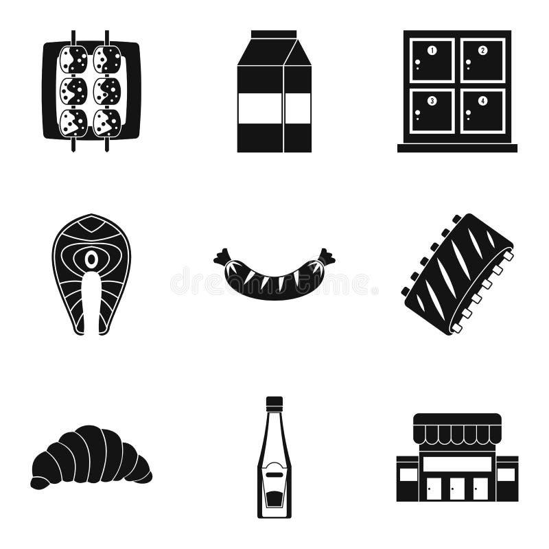 Dinez les icônes réglées, style simple illustration stock