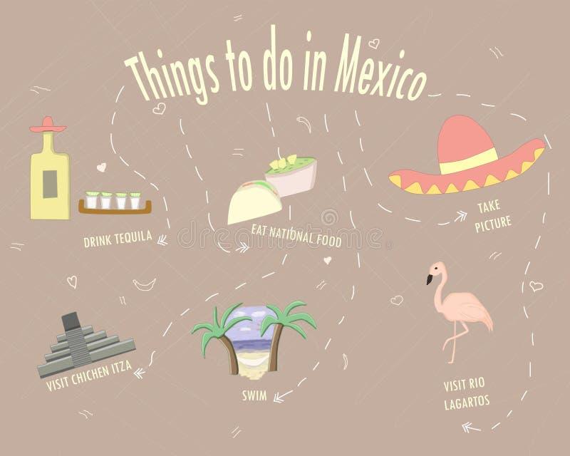 Dingen in de affiche van Mexico te doen royalty-vrije stock foto