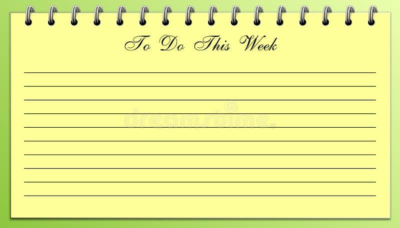 Dingen om Lijst te doen Deze Week Geel op Groen stock afbeeldingen