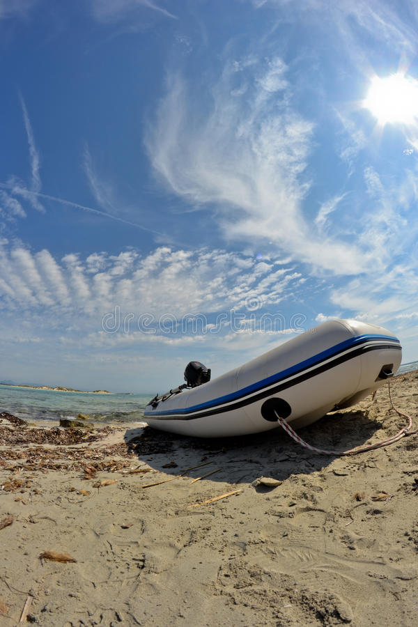 Download Dinghies on the beach stock image. Image of river, fisheye - 19968127