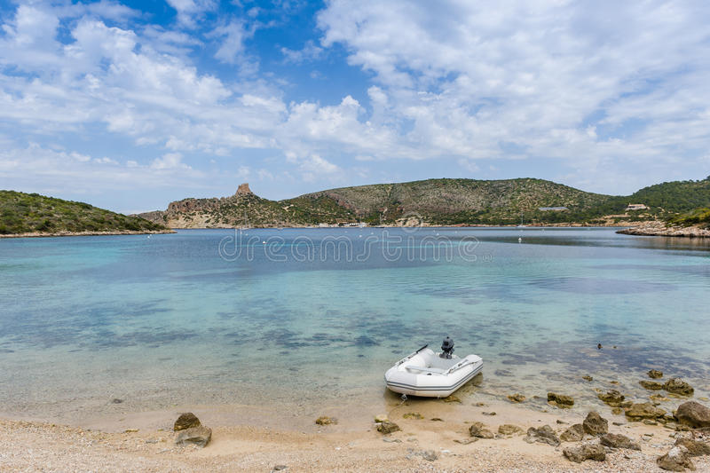 Download Dinghy At Bautiful Island Bay Beach Stock Photo - Image of harbour, leisure: 43069682