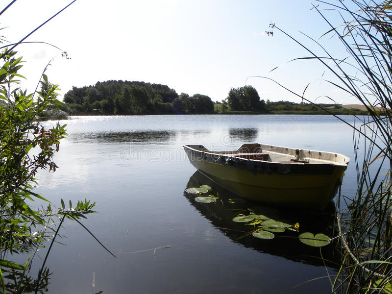 Boat on lake in Denmark stock images