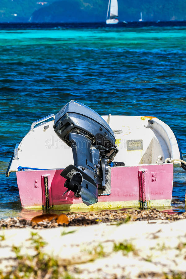 Dinghy. On sandy British Virgin Islands beach royalty free stock photo