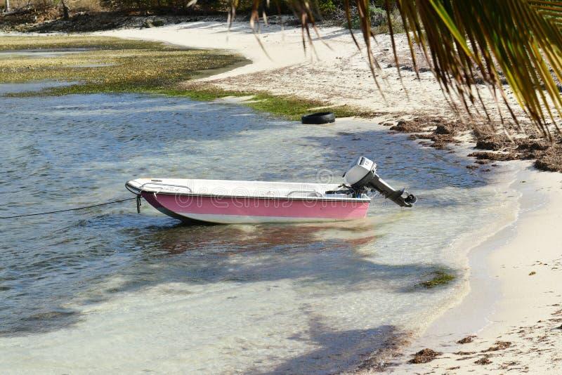 Dinghy. On sandy British Virgin Islands beach stock photos