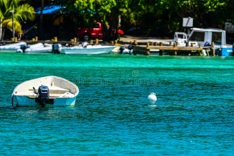 Dinghy. Waits at anchor in British Virgin Islands royalty free stock photo