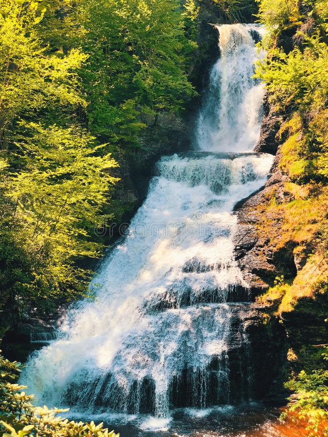 Dingmans Falls flowing in summer stock image