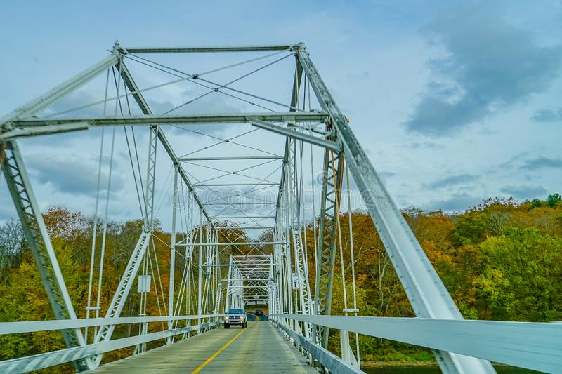 Dingmans Ferry Bridge across the Delaware River in the Poconos Mountains, connecting the states of Pennsylvania and New Jersey, US royalty free stock photography