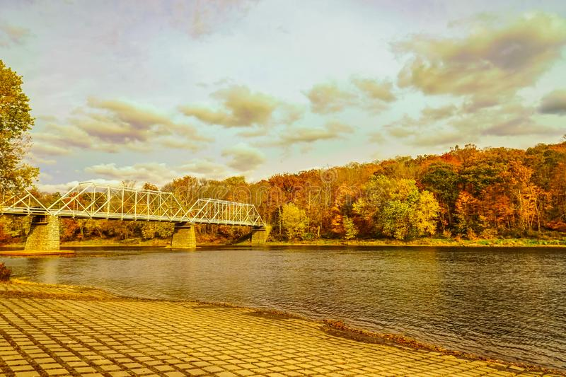 Dingmans Ferry Bridge across the Delaware River in the Poconos Mountains, connecting the states of Pennsylvania and New Jersey, US royalty free stock photos
