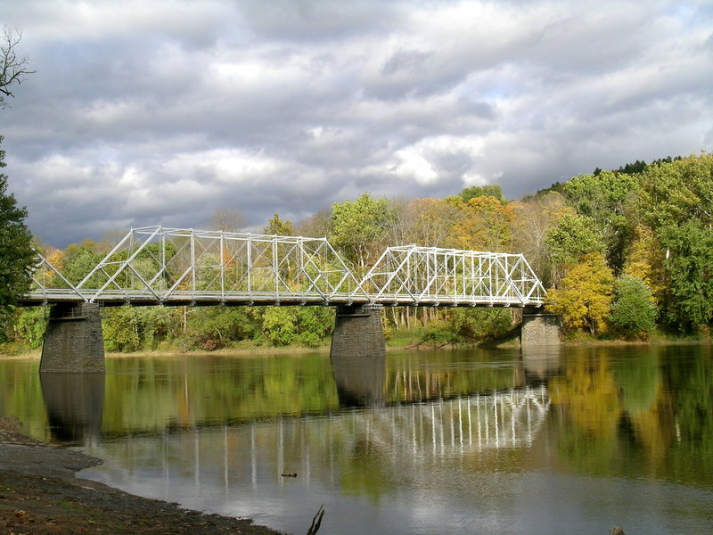 Dingmans Ferry Bridge in Fall stock image