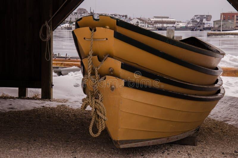 Dingys - mystischer Seehafen, Connecticut, USA stockbilder