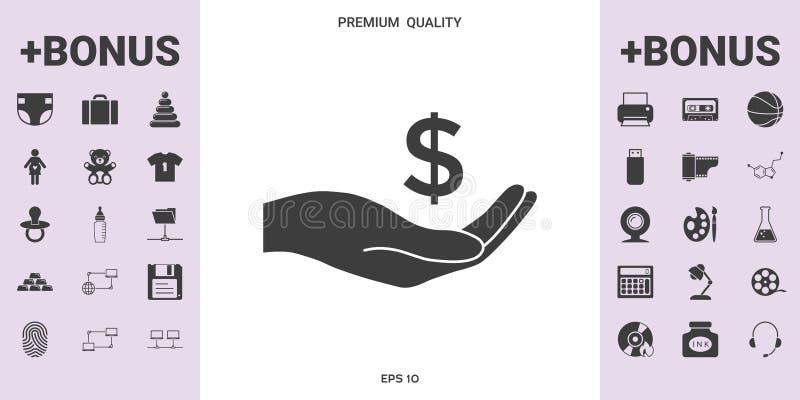 Dinheiro à disposição, ícone do símbolo do dólar - elementos gráficos para seu projeto ilustração do vetor
