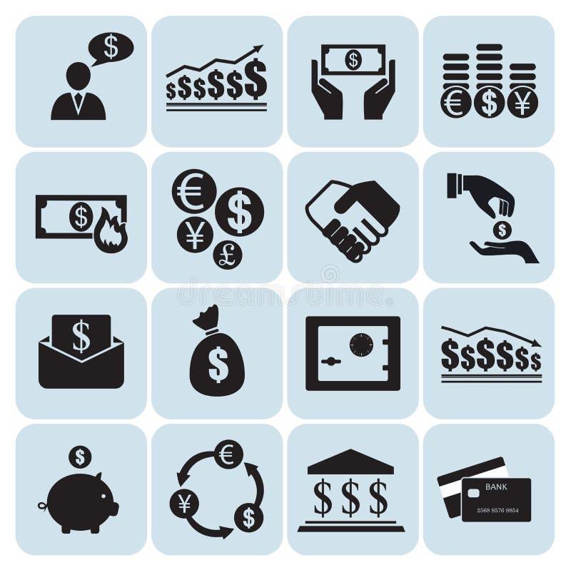Dinheiro, ícones da finança ilustração royalty free