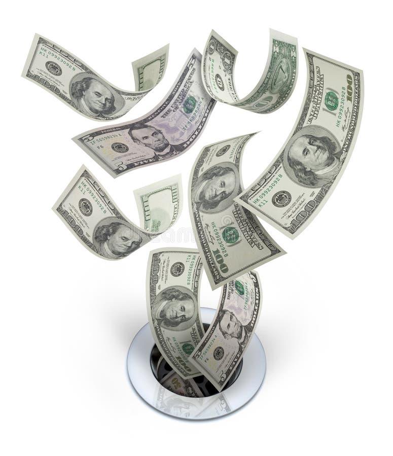 Dinheiro abaixo do desperdício do dreno imagens de stock