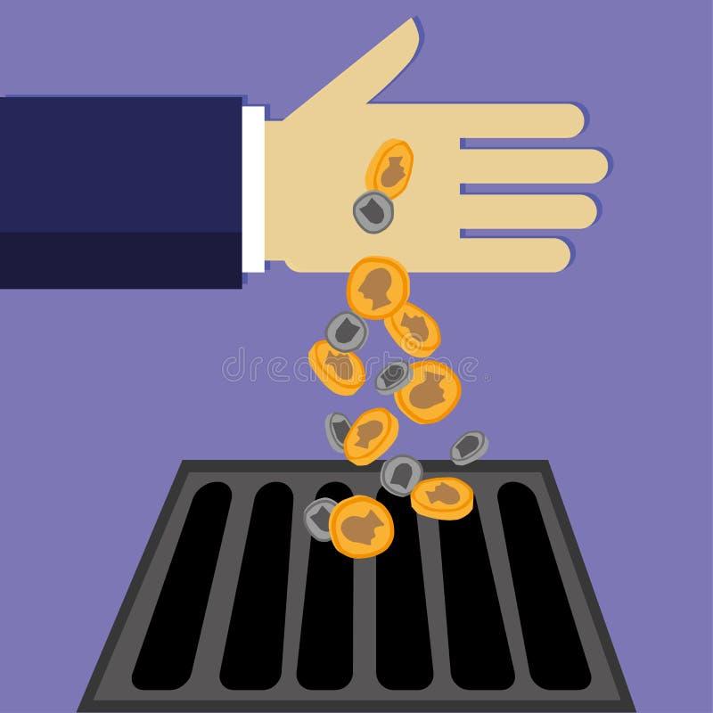 Dinheiro abaixo do dreno ilustração stock
