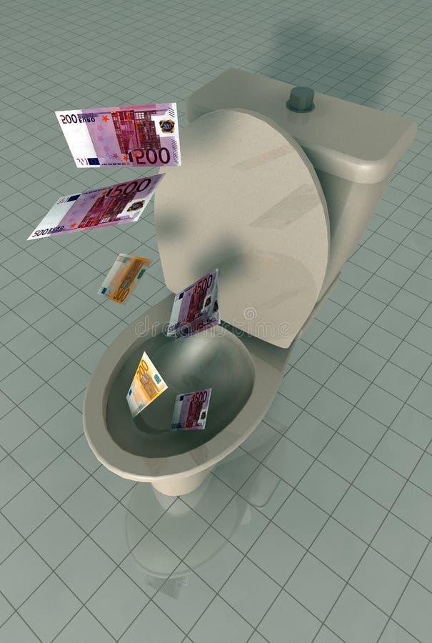 Dinheiro abaixo do toalete ilustração royalty free
