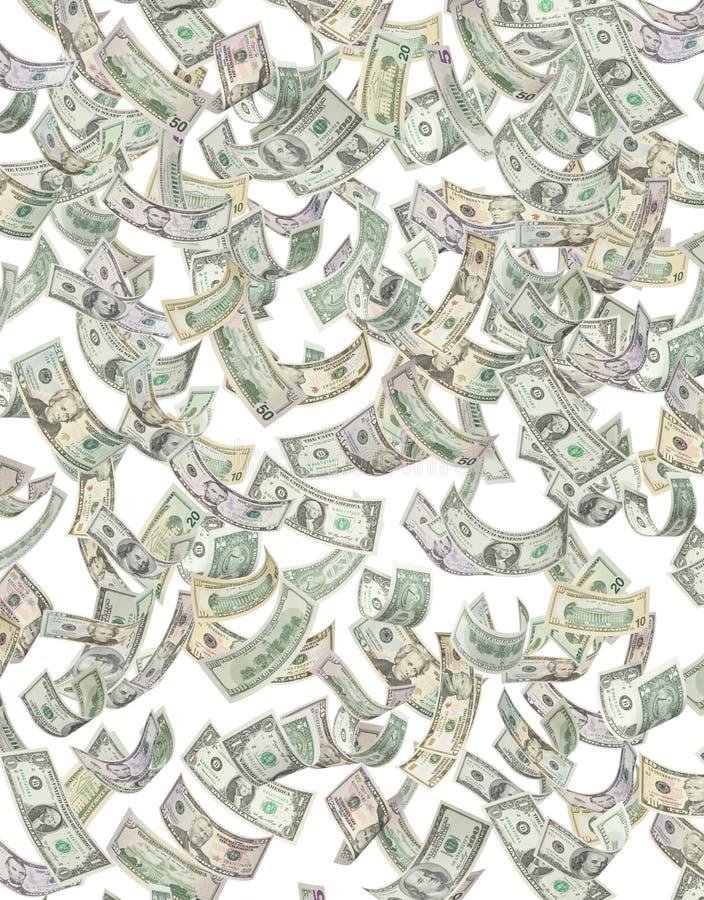 Dinheiro americano que chove para baixo ilustração do vetor