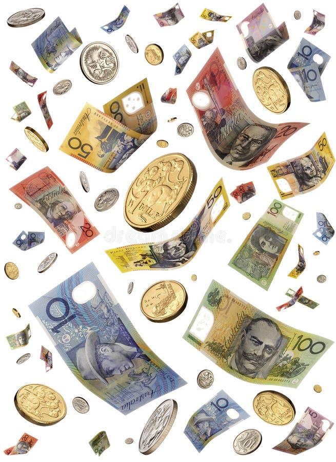 Dinheiro australiano de queda imagem de stock