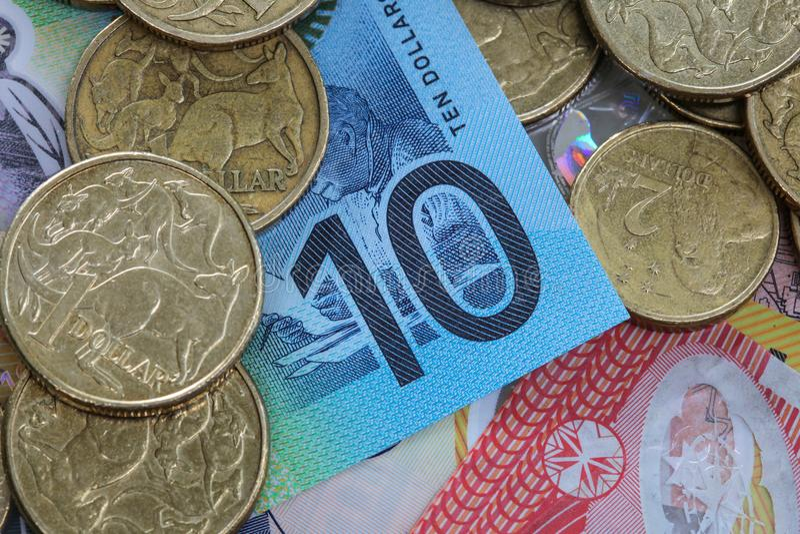 Dinheiro australiano que caracteriza o detalhe parcial do close up do mais atrasado fotos de stock