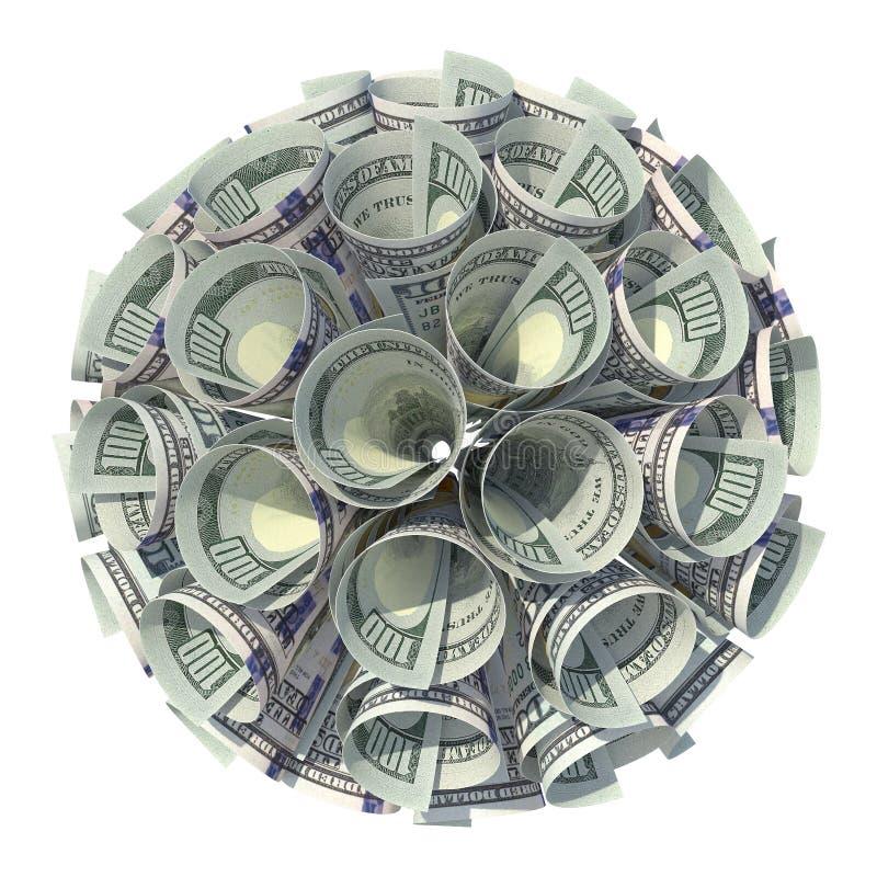 Dinheiro Bola dos dinheiros finanças Negócios Dólares ilustração stock