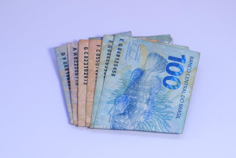 Dinheiro brasileiro do tipo real do dinheiro fotografia de stock