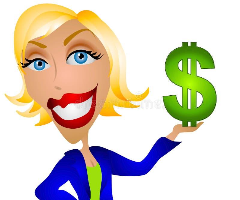 Dinheiro caucasiano da terra arrendada da mulher ilustração stock