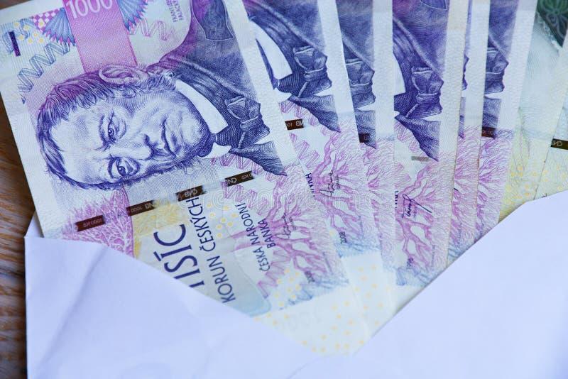 Dinheiro checo no envelope fotos de stock royalty free