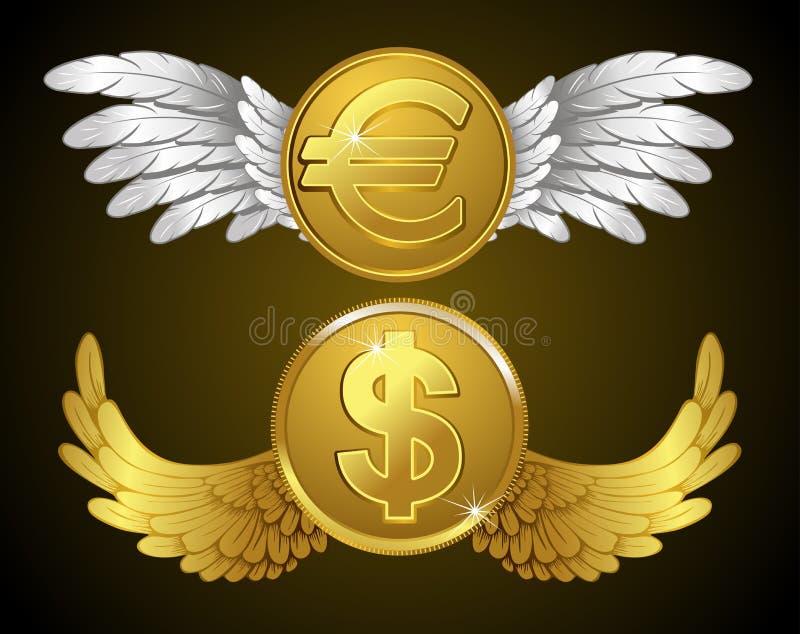 Dinheiro com asas ilustração stock