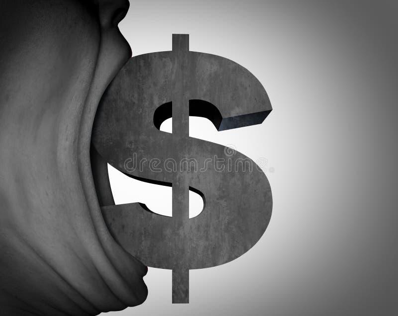Dinheiro com fome e avidez ilustração do vetor