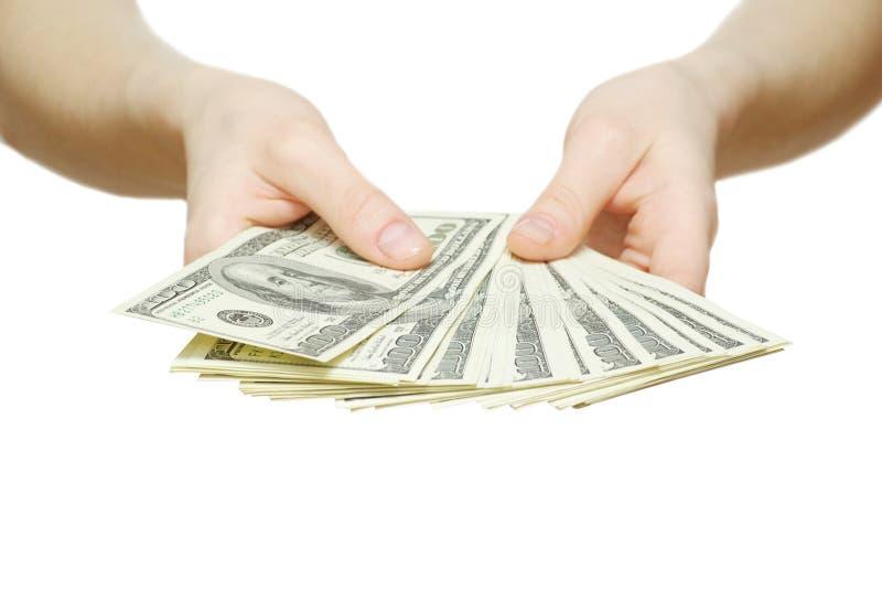 Dinheiro com mão imagem de stock