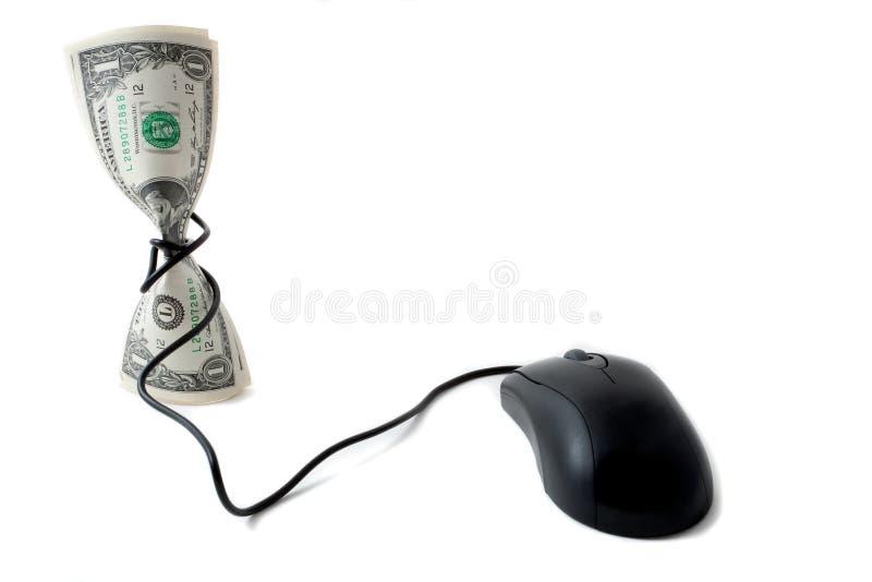 Dinheiro Com Rato, Conceito Da Moeda Electrónico Imagens de Stock