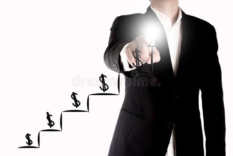 Dinheiro crescente ou lucro do homem de negócio Um conceito crescente do gráfico no fundo branco foto de stock