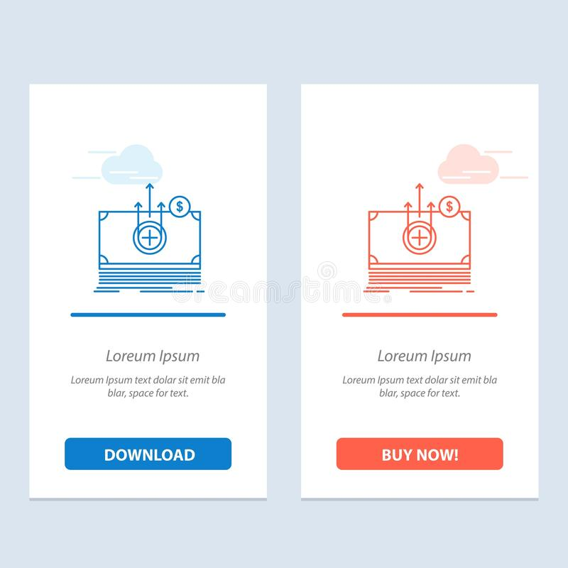 Dinheiro, dólar, azul médico, de transferência e transferência vermelha e para comprar agora o molde do cartão do Widget da Web ilustração royalty free