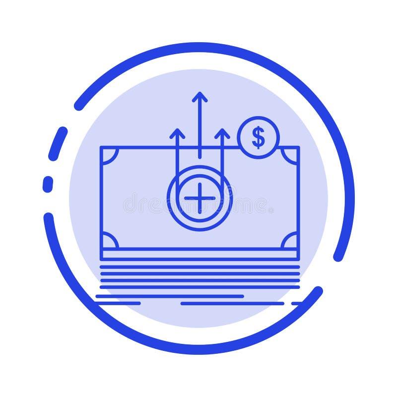 Dinheiro, dólar, médico, linha pontilhada azul linha ícone de transferência ilustração do vetor