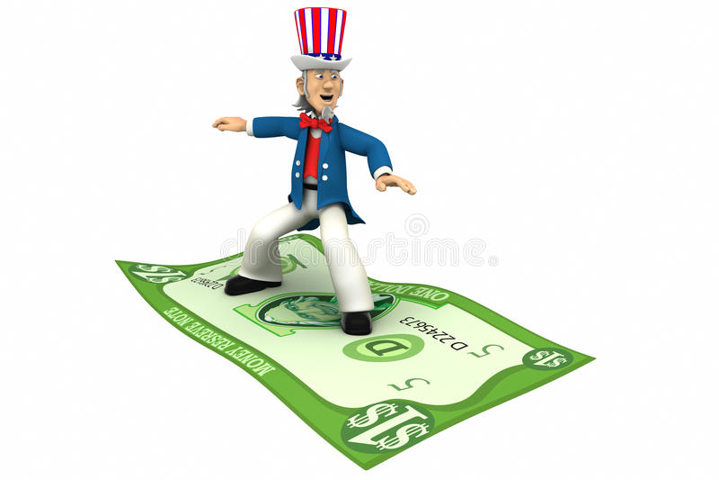 Dinheiro da equitação do tio Sam ilustração royalty free